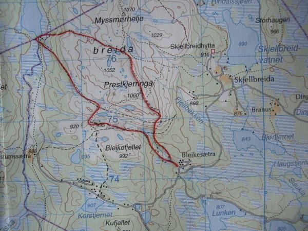 kart gausdal vestfjell Fåberg Vestside   Rundtur Bleikestr Mjogsj Prestkj Bleike. 2,5 t kart gausdal vestfjell