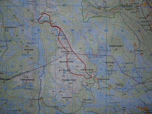 kart gausdal vestfjell Fåberg Vestside   Skjellbreia   Nysetra 1,5 t kart gausdal vestfjell
