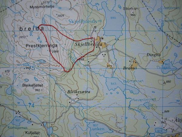 kart over ringebufjellet Fåberg Vestside   Rundtur Skjellbreia Prestkjerringa osv kart over ringebufjellet